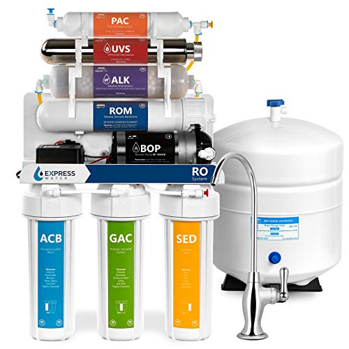 (Express Water Alkaline Ultraviolet Reverse Osmosis Filtration System – 11 Stage RO UV Mineralizing Alkaline Purifier with Faucet and Tank – Mineral, Antioxidant, pH + – Pressure Booster Pump – 100 GDP)