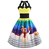 HHei_K Christmas Womens Vintage Loose Long Sleeve Halterneck Xmas Printed Ruched Back Retro Swing Ball Gown Dress