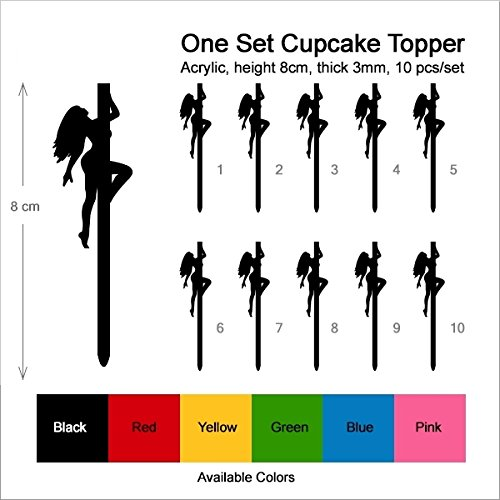 TA0134 Sexy Pole Dance Girl Silhouette Party Wedding Birthday Acrylic Cupcake Toppers Decor 10 pcs by jjphonecase (Image #2)