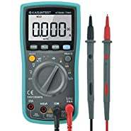 KASUNTEST 6000 Counts TRMS Auto Ranging Digital Multimeter with Capacitance Resistance Hz Duty Cycle Temp AC/DC Voltage Current Transistor Diode Buzzer Test