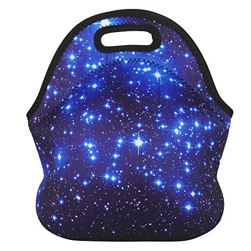 Violet Mist Neoprene Lunch Bag Tote Reusable Insulated Waterproof School Picnic Carrying Lunchbox Container Organizer For Men, Women, Adults, Kids, Girls, Boys (Blue Star) ()