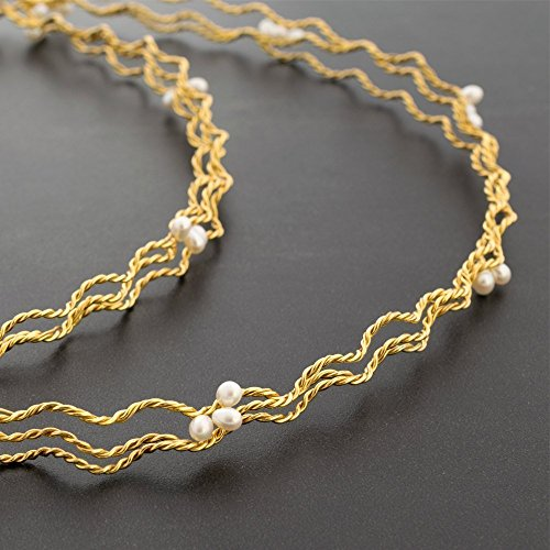 Gold stefana, pair of greek wedding crowns, handmade gold plated over 925 twisted & braided solid sterling silver with fresh water pearls handmade by Emmanuela by Emmanuela Art in Silver