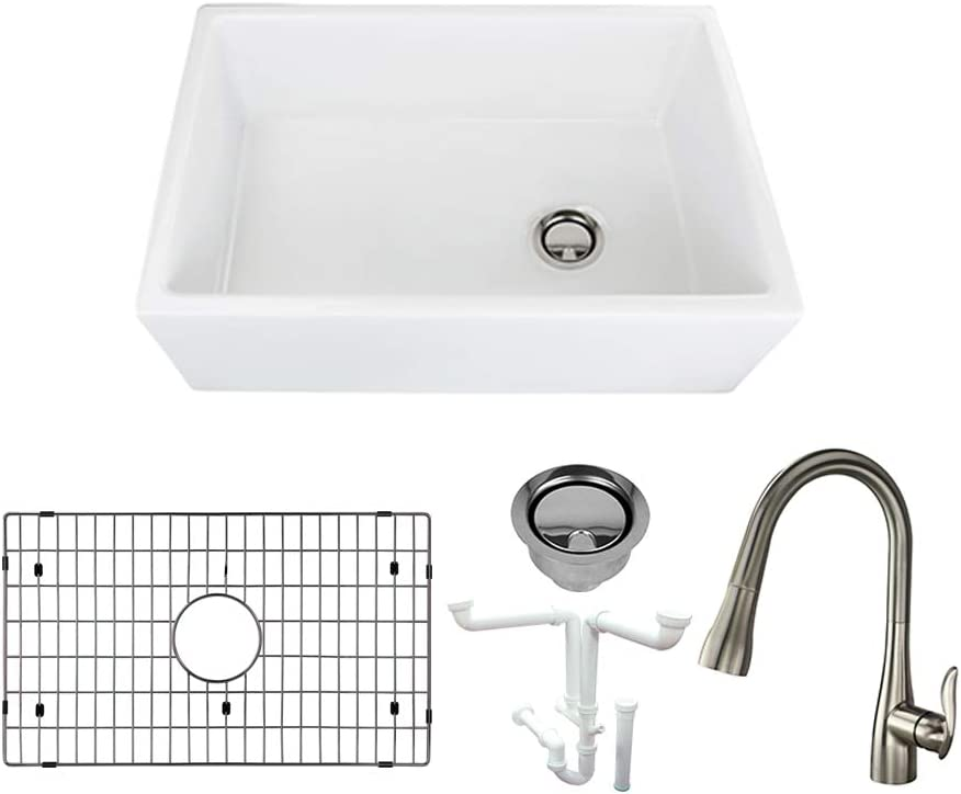 Transolid Kf Fust301910 Villa Fireclay Undermount Butler Single Bowl Farmhouse Kitchen Sink Kit Including Faucet 19 In L X 30 In W X 10 In H White Amazon Com