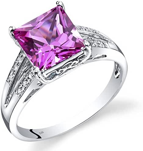 14K White Gold Created Pink Sapphire Diamond Ring Princess Cut 3.25 Carats Total