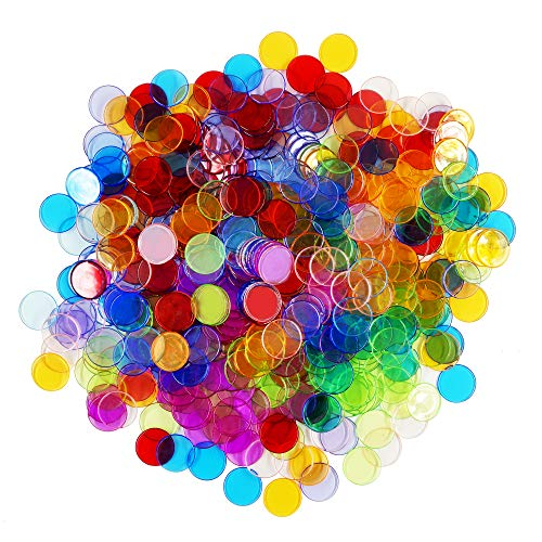 Hebayy 500 Transparent 8 Color Clear Bingo Counting Chip Plastic Markers (Each Measures 3/4 inch in Diameter) -