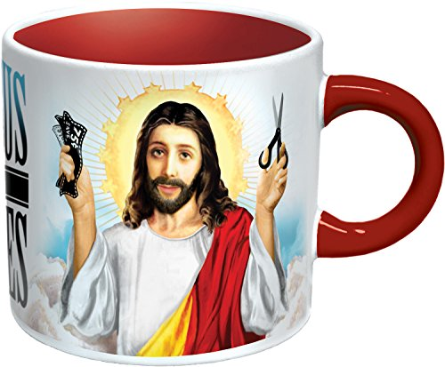 Jesus Shaves Heat Changing Mug Add Coffee or Tea and Christs Beard Disappears Comes in a Fun Gift Box The Unemployed Philosophers Guild 0981