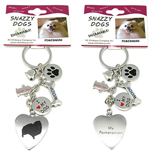(Pomeranian Keychain for Women, Girls, Boys, Men - Engraved Stainless Steel Dog Key Ring with Charms - Cute I Love My Dog Key Fob Gift - Cute Pet Accessories by Frogsac USA)
