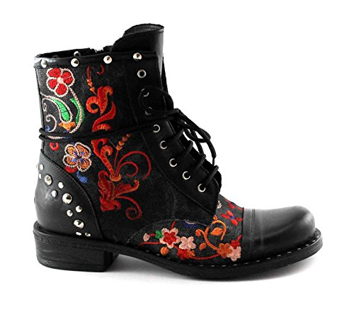 AS03 Follie Laces Women Studs Black Leather Zip Nero R Embroidery Boots Divine xvdwSZx