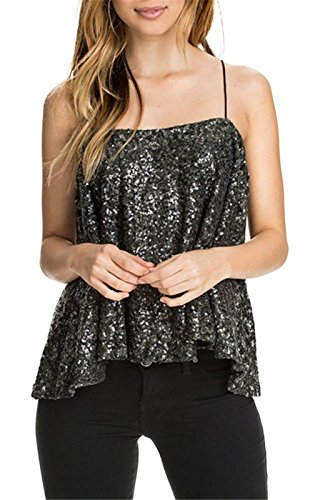 Arctic Cubic Bling Bling Style Shiny Sequin Sequined Sleeveless Pleated Swing Trapeze Vest Tank Cami Shirt Camisole Top Black ()