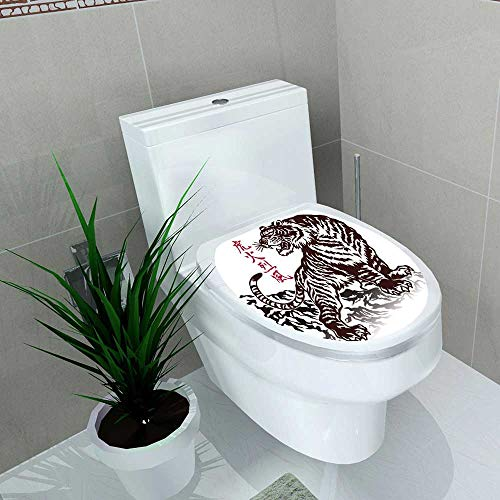 Auraise-home Decal Wall Art Decor Japanese Tiger for Toilet Decoration W13 x L13