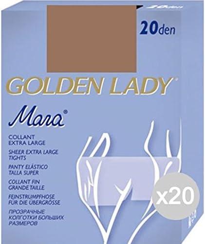 LOT DE 5 COLLANTS EXTRA LARGE GOLDEN LADY 20 DEN TAILLE 6-XXL COULEUR DAINO
