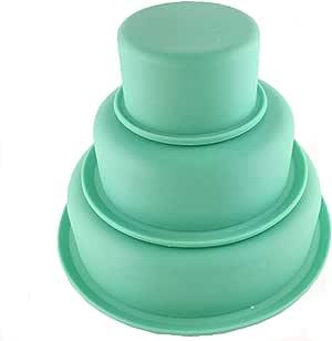 Saiway3 Tier Silicone Round Cake Mold Layer Cake Mold Bakeware Set (Green)