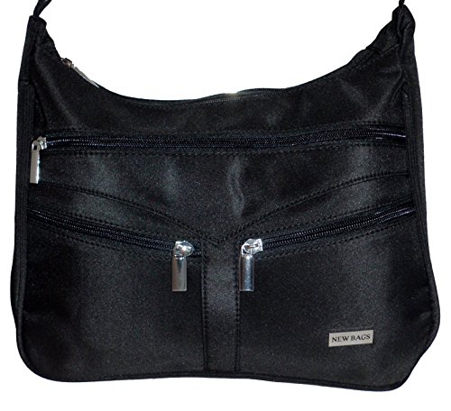 New Bags Shopper Handtasche schwarz Tasche Damentasche Umhängetasche Spinnstoff