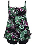 Hilor Women's Retro Pin UP Ruched Halter Floral Tankini Set SwimSuit Green 22
