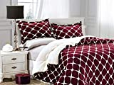 Burgundy Comforter Set King Elegant Comfort  Softest, Coziest Premium Quality Heavy Weight Bloomingdale Pattern Micromink Sherpa-Backing Reversible Down Alternative Micro-Suede 3-Piece Comforter Set, King, Burgundy