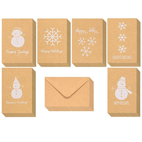 36-Pack Merry Christmas Greeting Cards Bulk Box Set - Winter Holiday Xmas Kraft Greeting Cards with Snowman and Snowflake Illustrations, Envelopes Included, 4 x 6 Inches (Stationery Christmas Cards)