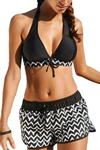 Las Mujeres De Cintura Alta Plus Tamaño Split Halter Bikini Black