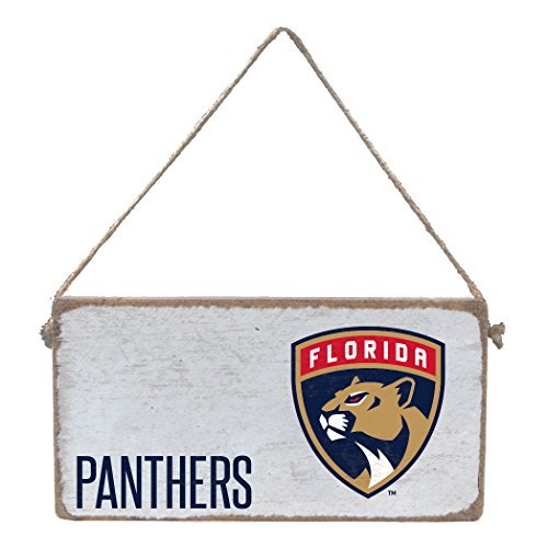 "Rustic Marlin Designs NHL Florida Panthers, White Mini Plank Sign with Team Logo, 11"" x 6"""