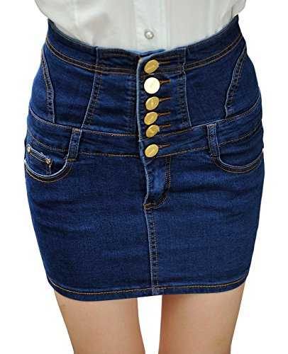 (chouyatou Women's Casual Short Denim Skirt (Large, H76-Blue))