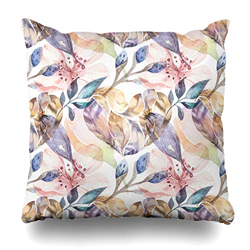 ArtsDecor Throw Pillow Covers Cases Bohemian Boho Watercolor Pattern Feathers Wild Istic Color Cow Day Hand Home Decor Cushion Square Size 18