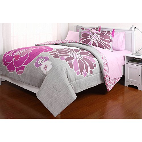 7 Pieces Reversible Comforter and Comparable Sheet Set for All Seasons, FULL, Leah, Pink Flowers
