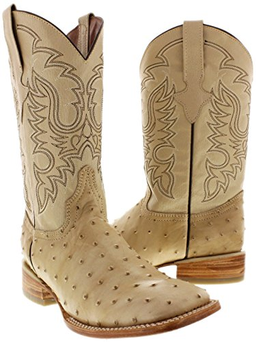 Team West Texas Legacy - Men's Sand Ostrich Quill Print Leather Cowboy Boots Square Toe 9.5 D (Beige Mens Cowboy Boot)
