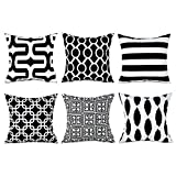 Decorative Pillow Cover - Top Finel Decorative Throw Pillows Cushion Covers Square Pillowcases Soft Brushed Microfiber For Sofa Set of 6 Size 18 x 18 Inch,Black