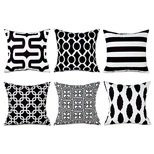 Top Finel Square Decorative Cushion Covers Soft Microfiber Outdoor Throw Pillow Covers 18 X 18 for Sofa Bedroom, Set of 6, Black