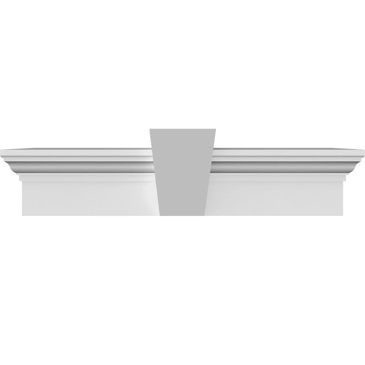 Ekena Millwork CRH06X71KF 71'' Bottom Width x 74 1/2'' Top Width x 6''H x 1''P Crosshead w/Flat Keystone