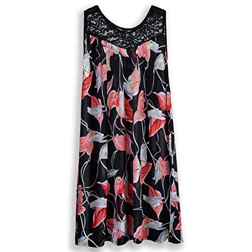- Women's Print Mini Dress Shirred Tummy Control Dresses Lace Neckline Cocktail Prom Ballgown Fancy Dress(Red, L)