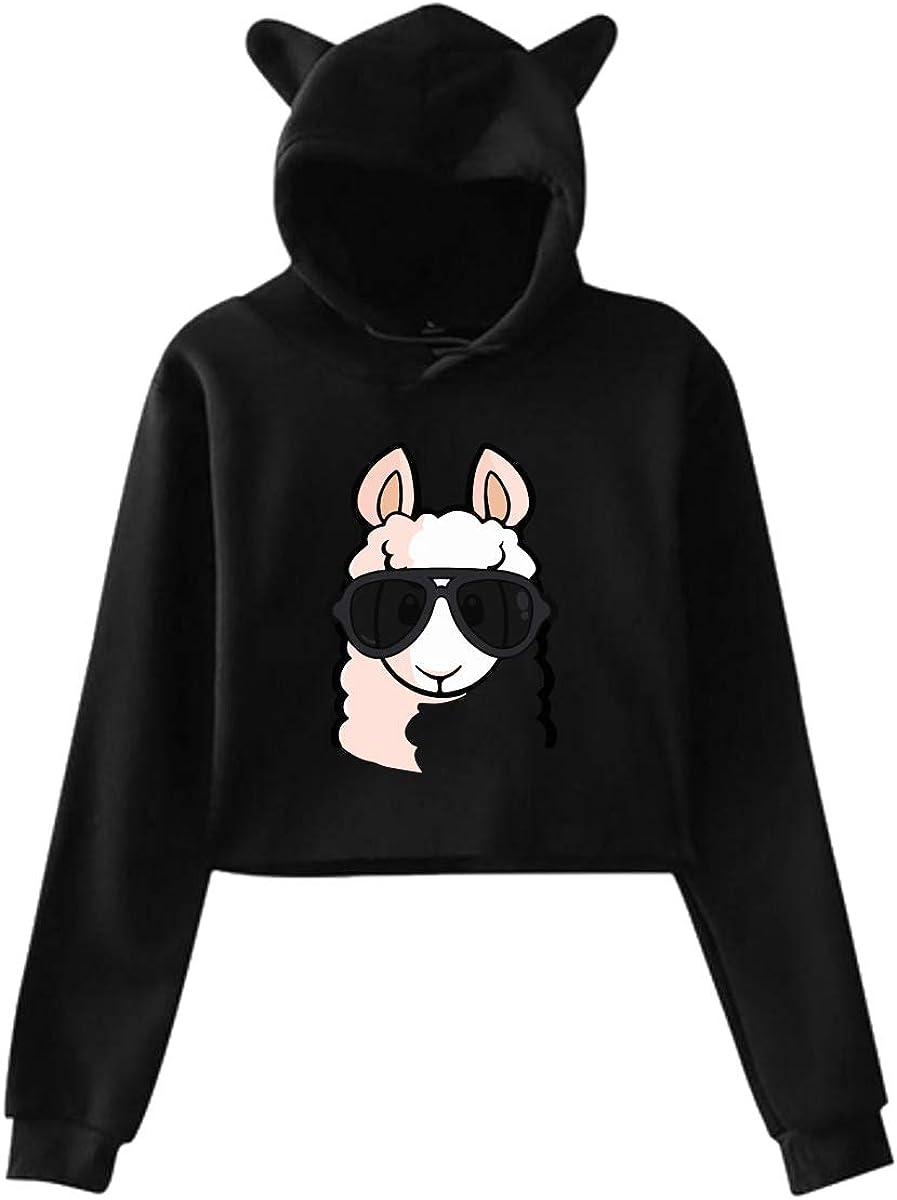 Womens Girls Cat Ear Pullover Hoodie Cool Llama Crop Top Sweatshirts