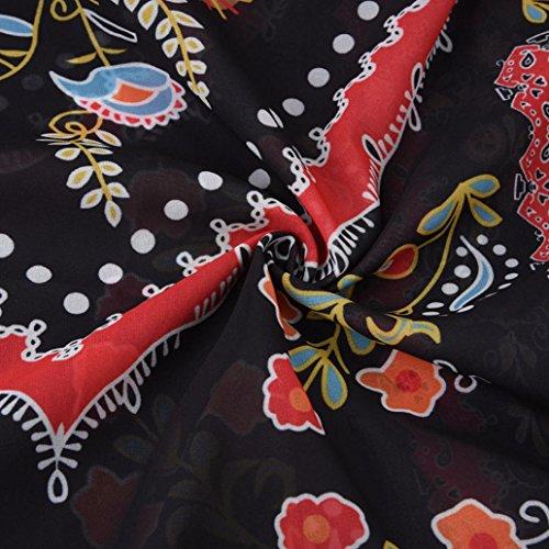 de Mousseline Robe Multi de de Soie Plage Robe Meilleure XL Partie Vente Option Robe LuckyGirls Noir Bohme Couleur Maxi Florale de d't en Longue IxZtqf