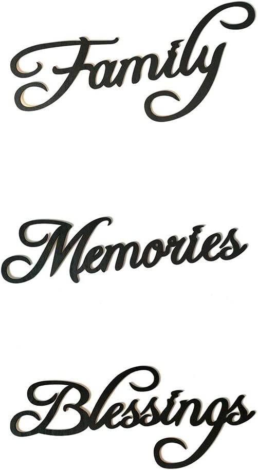 Regard L Bendiciones Familia Memories Letra de Madera Etiqueta de la Pared de Madera Muestra Colgante Palabra DIY decoraci/ón de la Barra del Ornamento