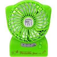 USB Portable Table Fan,ABURA Handheld Mini Fan Powered by By Lithium Rechargeable Battery,With LED Flashlight, For Travelling, Camping, Hiking,Climbing,Home And Office Portable Fan (Green)