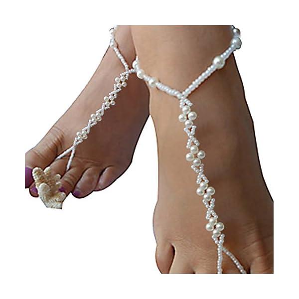 0df0398f0 Bienvenu 2pcs Pearl Ankle Chain Bracelet Beach Wedding Foot Jewelry  Barefoot Sandal Anklet Chain