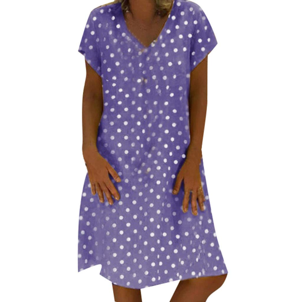 wave166 Mini Vestidos,Mujer de Camiseta Suelto Casual Cuello Redondo Mujer Manga Corta De Algod/ón Lino Colorblock Vestidos