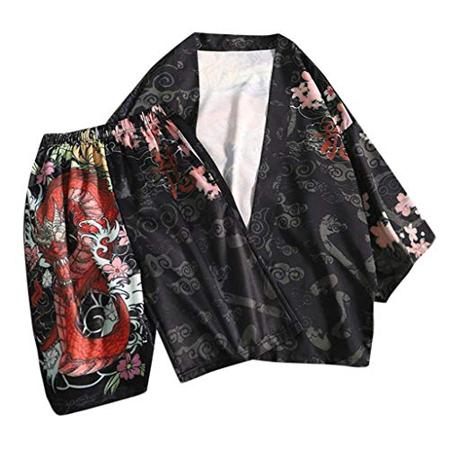 (Men's Kimono Cardigan Dragon Print Casual Cotton Linen Open Front Coat JacketsTop Blouse)