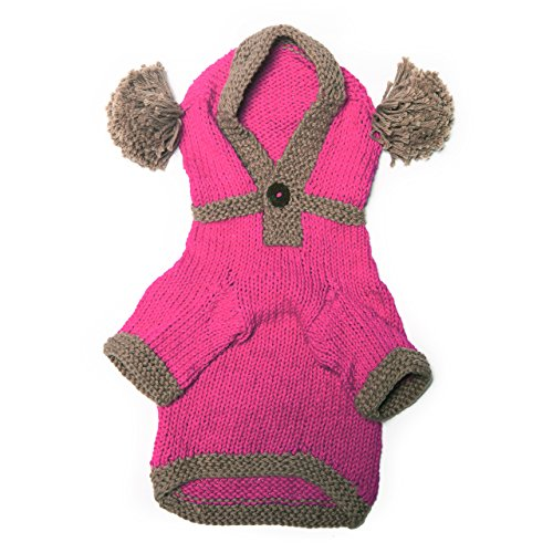 Dog in the Closet, The Taylor - Pink Hand Knit Dog Hoodie, Size XS by Dog in the Closet