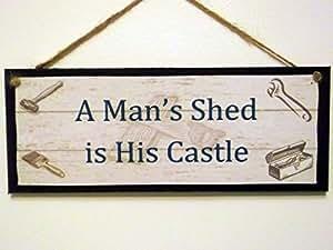 """Muestra de madera/placa."""" a Mans cobertizo es su castillo """" gran idea de regalo!"""