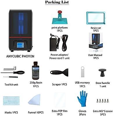 ANYCUBIC PHOTON Impresora LCD SLA Luz UV 3D Montada con Pantalla ...