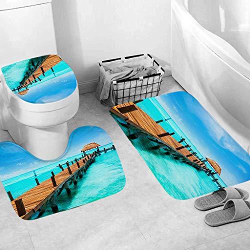 Weiliru Bathroom Rugs 3pcs Non-Slip Fish Scale Bath Mat Soft Plush Anti-Slip Shower Rug +Toilet Mat+U-Shape Toilet Pad -