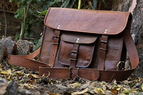 HLC Unisex Leather Messenger Bag Laptop