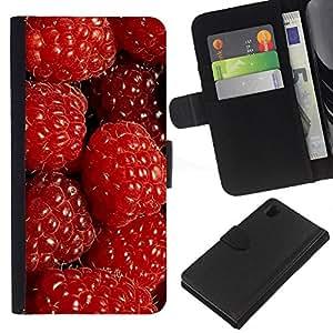 All Phone Most Case / Oferta Especial Cáscara Funda de cuero Monedero Cubierta de proteccion Caso / Wallet Case for Sony Xperia Z1 L39 // Raspberries Red Berries Fresh Garden Healthy