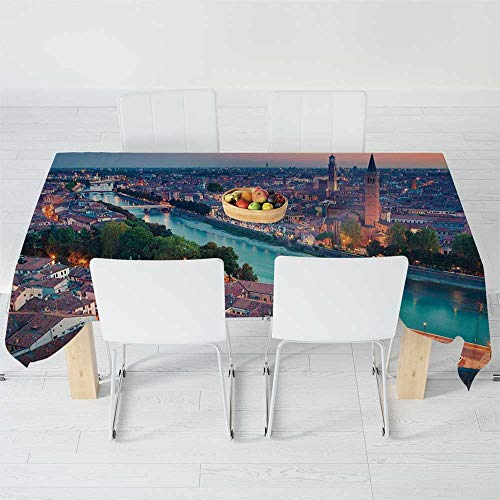 (Fashionable Tablecloth,European,for Secretaire Square Table Office Table,104.3 X 52 Inch,Verona Italy During Summer Sunset Blue Hour)