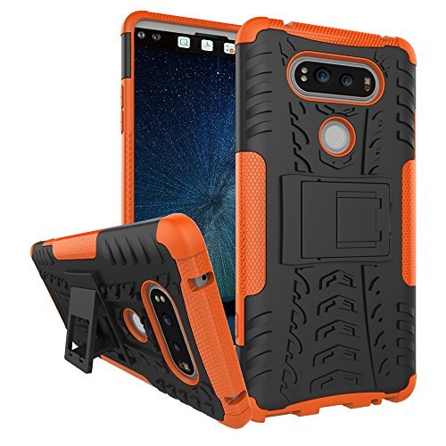 Phone Cover LG V20, Dual Layer Hybrid Case Armor Tough LG V20 Case with Kickstand and Extreme Heavy Duty Protection and Cushion Air Technology Shockproof Anti-Scratch Covers Cases for LG V20-Orange