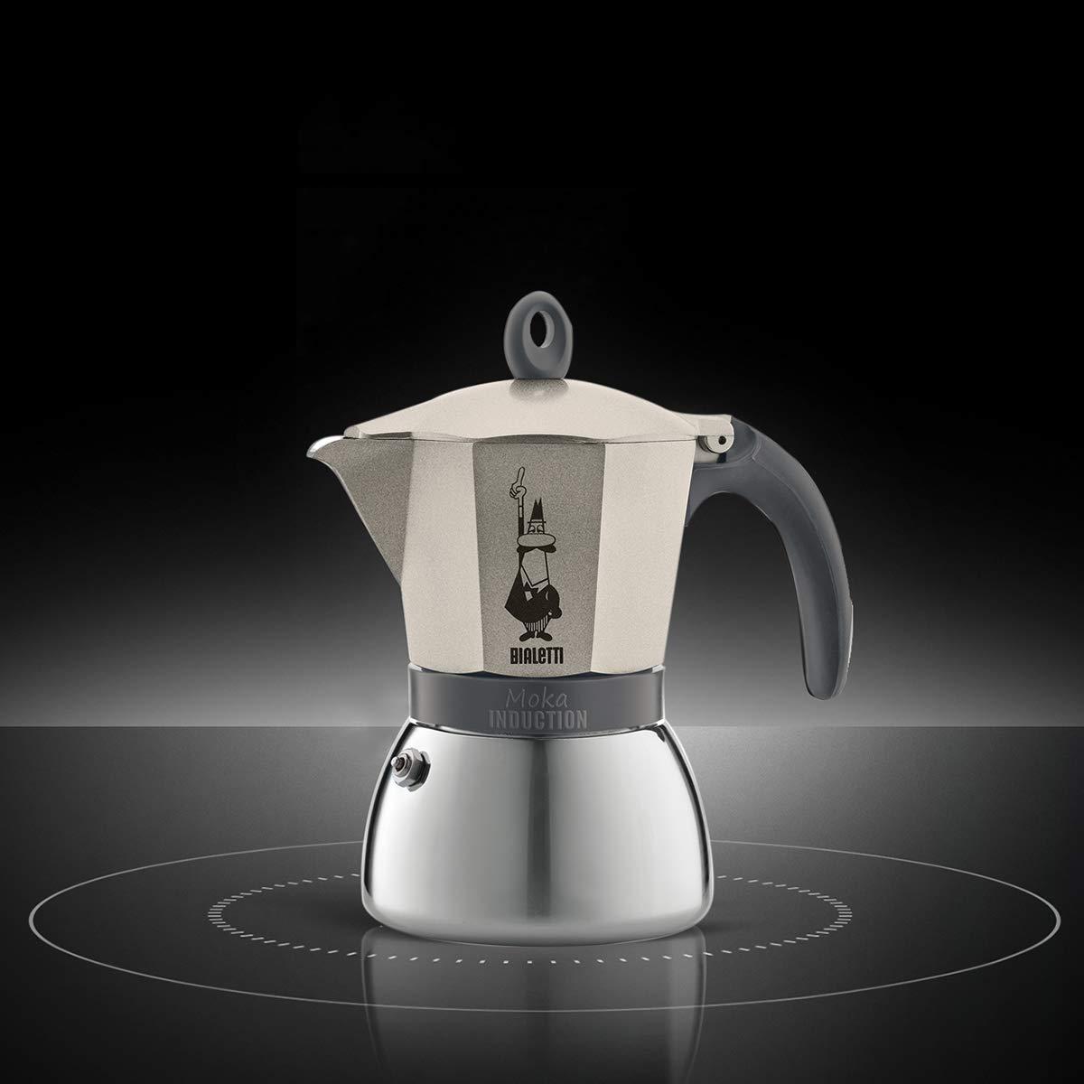 Bialetti Moka Induction, cafetera con Base de Acero para inducción, Color Oro 6 Tazas