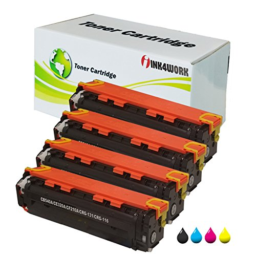 INK4WORK 4 Pack Compatible Toner Cartridge Replacement for HP 125A CB540A CB541A CB542A CB543A Color Laserjet CP1215 CP1515n CP1518ni CM1312 ()