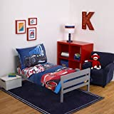 4 Piece Boys Blue Red Disney Cars The Movie Themed Comforter Set Toddler With Sheets, Racing Car Themed Luigi Guido, Reversible Checkered Red Blue Sky Kids Bedding For Bedroom, Polyester Microfiber