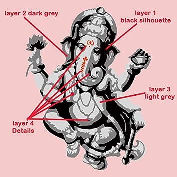 Telas y Muebles Multicapas Elephant-Headed Dios en Hinduismo Plantilla Decoraci/ón Hogar Plantillas Pintura para Paredes Ganesha Plantilla SMALL 17X22CM