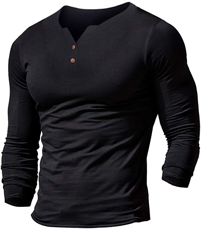 X-Future Men Comfy Casual Loose Fit Round Neck Buttons Plain Long Sleeve Muscle T-Shirts Tops
